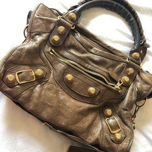 Balenciaga Giant City beige lambskin leather bag